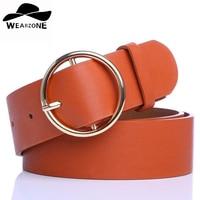 WEARZONE Fashion Women S Belt Elastic Waistband Gold Circle Buckle PU Small Belts Red Thin Cummerbund