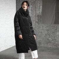 Оригинальный дизайн 2018 вельвет лоскутное белая утка подпушка куртка Стенд воротник свободные длинные зимнее пальто для женщин