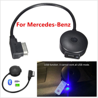 Black 2.4~48 GHz Car Wireless Bluetooth AUX Music Adapter Cable For Mercedes Benz