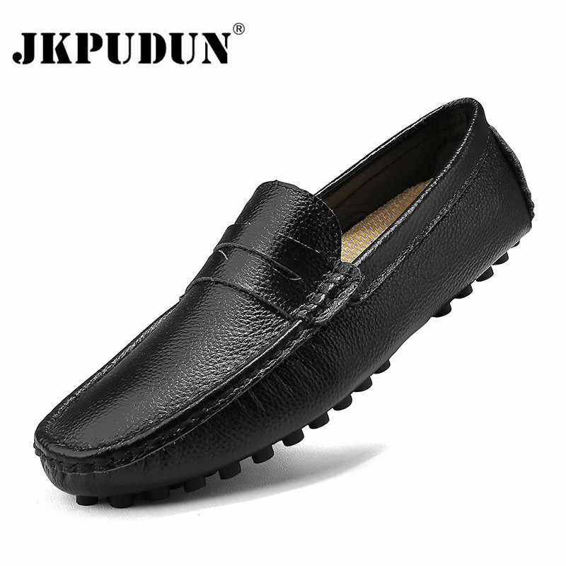 Genuine Leather Men Shoes Luxury Brand Italian Casual Mens Loafers Moccasins Breathable Slip on Boat Shoes Black Plus Size 39-50