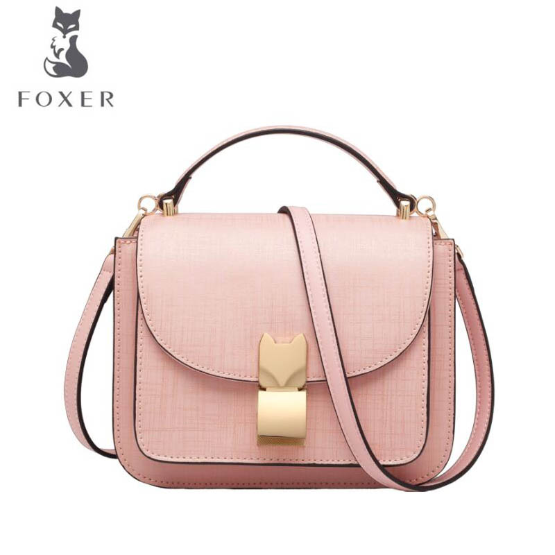 FOXER 2018 New women Leather bag designer fashion women famous brand Cowhide small tote bag women leather Shoulder Bags 2018 new foxer brand women leather bag high quality fashion chains women shoulder messenger cowhide simple small bag