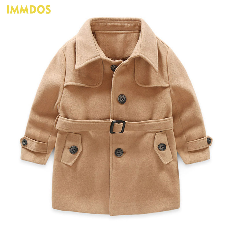IMMDOS 2017 Winter Thick Wool Coat For Girl Children Long Sleeve Lolita Jacket For Girls Baby New Year Solid Fashion Clothing immdos winter new arrival down jacket for boy children hooded outwear kids thick coat baby long sleeve pocket fashion clothing page 3