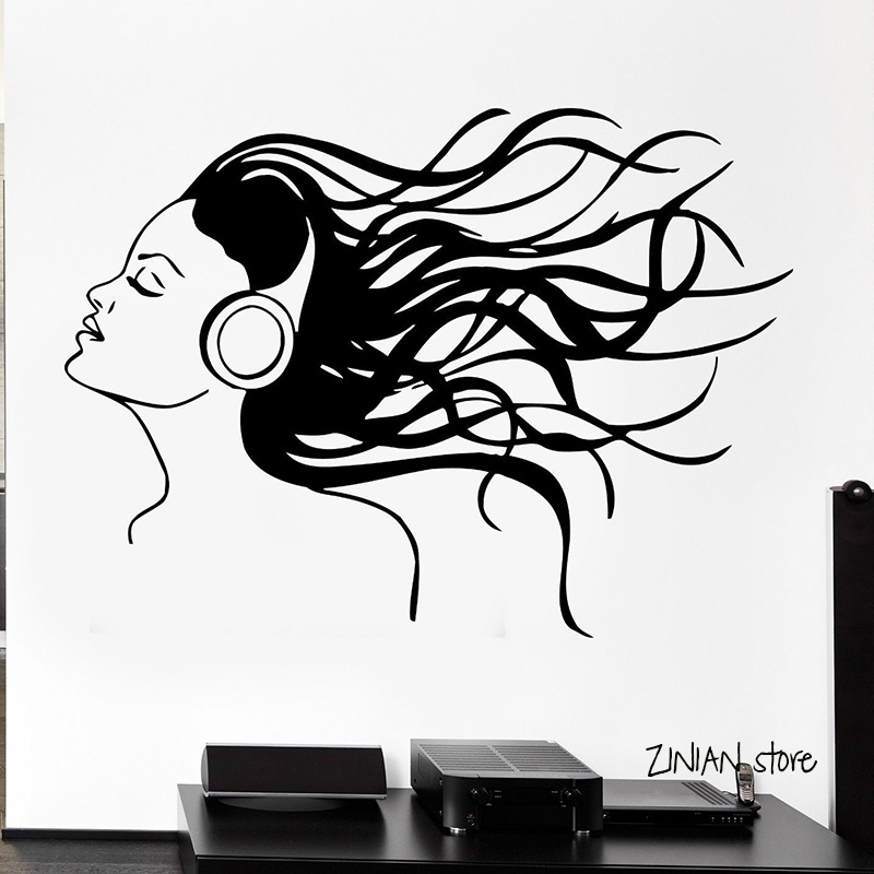Headphones Music Hair Cool Wall Decals Sexy Girl Rock Pop Song Wall Sticker For Teen Bedroom Removable Art Mural Home Decor H009 image
