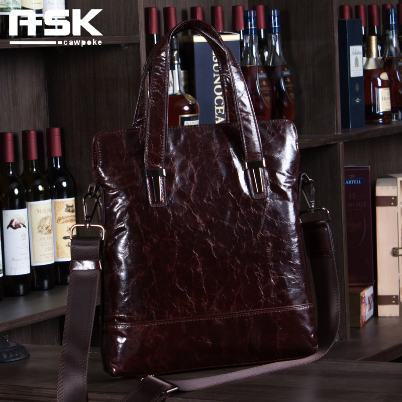 Ask 2017 genuine leather man bag commercial cowhide handbag messenger bag cowhide man bag waxing leather oil