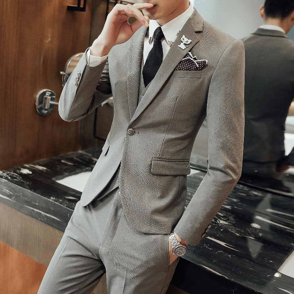 Blazers Pants Vest Sets Mens / 2018 Men's Fashion Groom Wedding Dress Suits / Male Casual Slim Fit Business 3 Piece Suit Sets