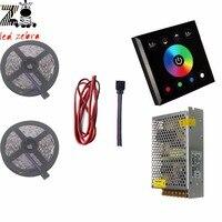 5m/10m 5050 SMD rgb led strip light+black/white touch panel led controller+12v led power transformer+5m 22awg 2pin led