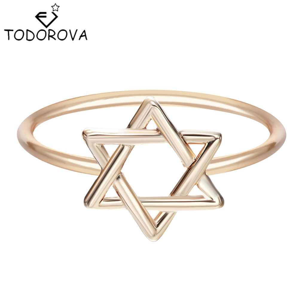 Todorova New Israel Wedding Bands Fashion Jewelry Wholesale 2017 Party Trendy Unique Star of David Rings for Women