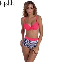 TQSKK 2017 New Sexy High Waist Swimsuit Female Vintage Retr Women Swimwear Solid Cross Bikini