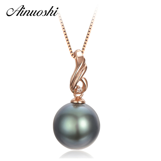 AINUOSHI 925 Sterling Silver Rose Gold Color Necklace Pendants Black Cultured Pearl Tahiti 10mm Round Pearl Women Pendants