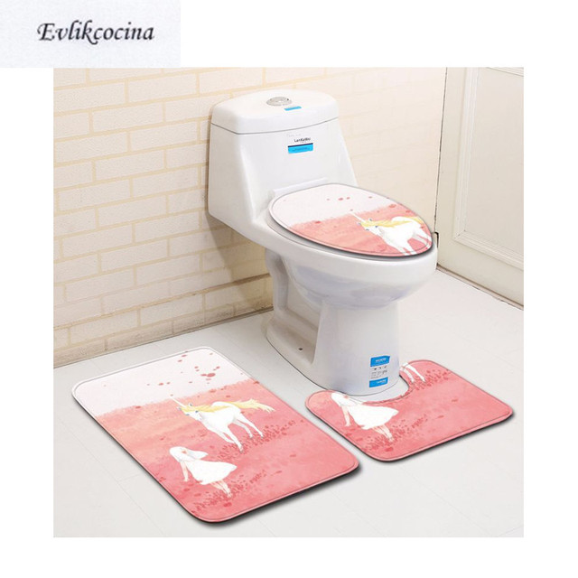 US $14.78 34% OFF|Free Shipping 3pcs Unicorn Playing Banyo Bathroom Carpet  U Toilet Bath Mats Set Non Slip Pad Tapis Salle De Bain Alfombra Bano-in ...