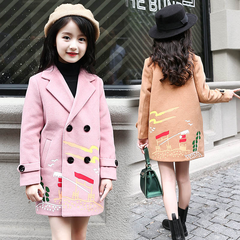 Winter Autumn Kids Outerwear Children Coats For Girls Wool & Blends  Infant Warm Clothes Girls Long Thick Jackets 6 8 10 12 14 kids winter jackets girls coats with hood waterproof girls coat autumn outerwear windbreaker pink children clothes 11 12years