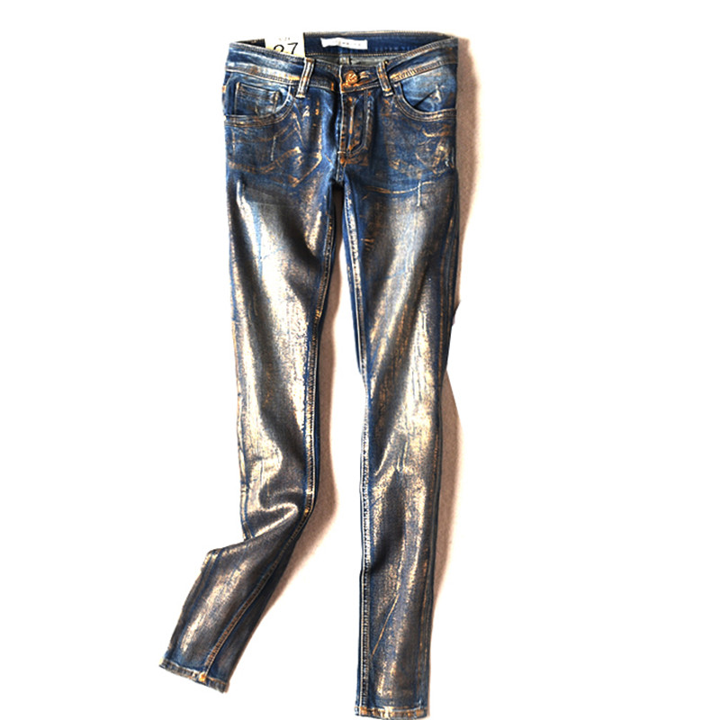 16 France USA England New Hot Stamping Process Gold Colored Vintage Jeans pants Personality Female Youth Trousers Punk pants