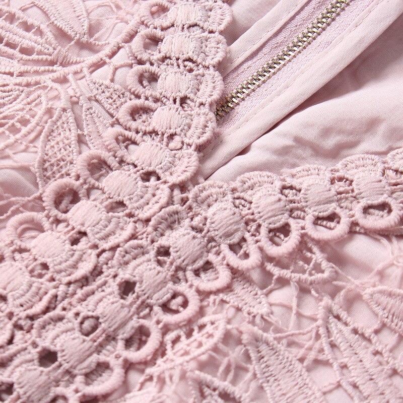 Dentelle V Taille Manches Plus Femmes Courtes M Robe Robes 4xl 5xl Noir Partie À Cou rose D'été Occasion La rf4wxqr