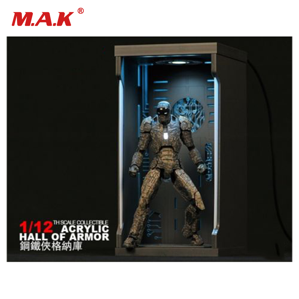 1/12 Scale Action Figure Accessory Iron Man Acrylic Hall of Armor Display Dust Box for 6 inches Action Figure 1 6 1 6 scale treasure box gold golden coins for action figure decoration