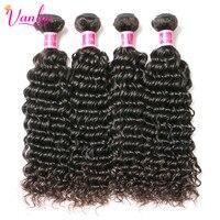 Vanlov Deep Wave Brazilian Remy Hair Extension 100 Human Hair Weave Bundles Natural Color Double Weft