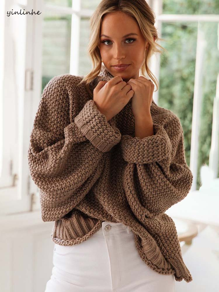 Yinlinhe Turtleneck Sweater Pullovers Casual Jumper Long-Sleeve Loose Khaki Autumn Plus-Size