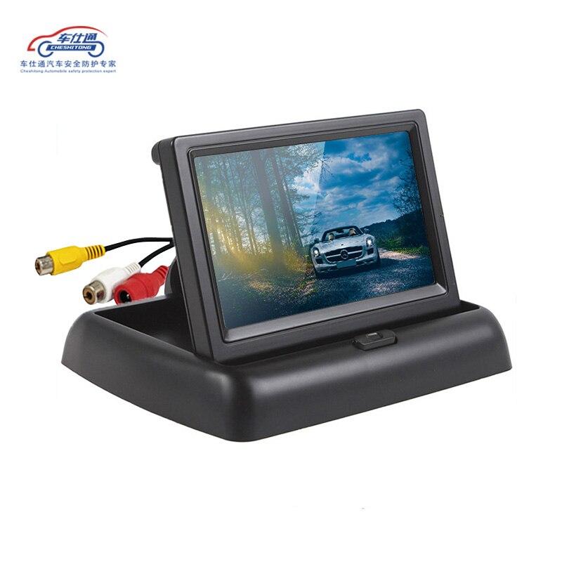 Image 3 - 4,3 дюймовый складной ЖК дисплей для парковки, автомобильный монитор заднего вида, зеркало заднего вида, резервный дисплей, 2 видеовхода, реверсивная камера DVD-in Мониторы для авто from Автомобили и мотоциклы