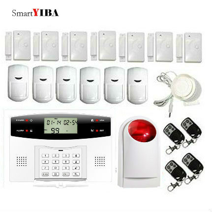 SmartYIBA Wireless Home Security System with Flash Siren SMS Alert Auto Dial House Alarm GSM Alarm Timely Arm/Disarm Russian dhl ems free shipping 2 4g wifi gsm gprs sms wireless home house security intruder alarm system wireless flash siren