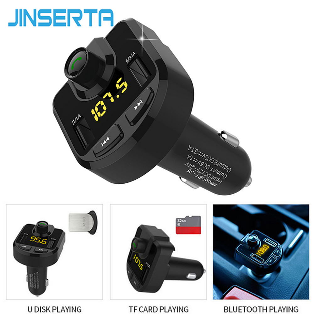 JINSERTA Car Styling Hands Free Wireless Bluetooth FM Transmitter AUX Modulator Car Kit MP3 Player SD USB LCD Car Accessories
