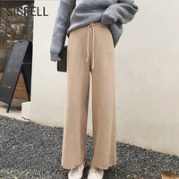 SISPELL Knitted Wide Leg Pants Female High Waist Lace Up Solid Colour Trousers For Women Loose