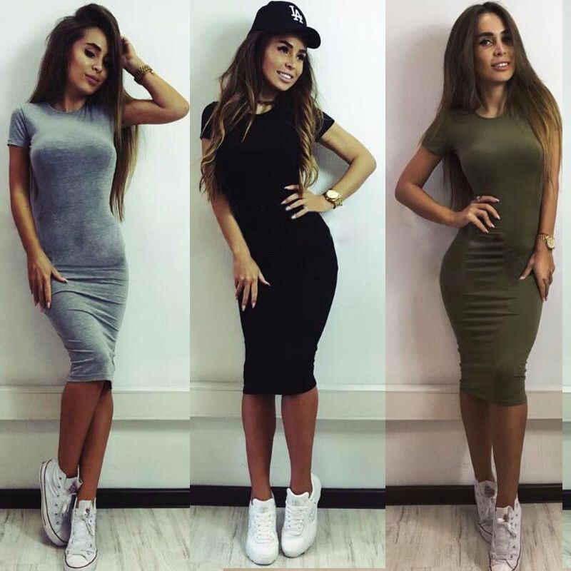 9b836458cb370 SEXY Women's Summer Casual Short Sleeve Evening Party Dress Mini Dresses  Thin Gray Black Army green