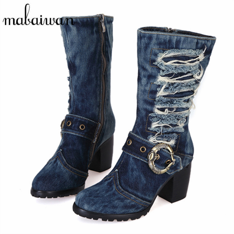 Mabaiwan Winter Vintage Denim Boots Chunky High Heel Short Booties Fashion Warm Jean Knight Martin Boots Side Zipper Botas Mujer womens high boots vogue side zipper botas invierno mujer fashion buckle block chunky heel sapatos mulher suede size us 4 10 5