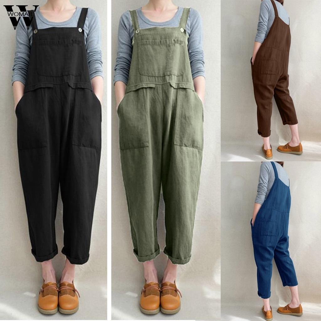 Womail bodysuit Women Summer Sleeveless Dungarees Loose Cotton Linen Long Playsuit Jumpsuit Plausuit plus size 2020 M1