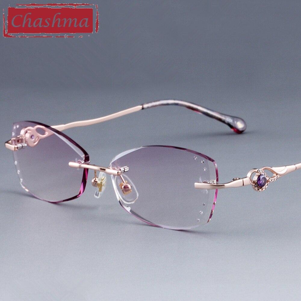 Chashma Brand Diamond Rhinestone Lenses Colored Prescription Lenses Fashion Women Purple Titanium Frame Eyeglasses