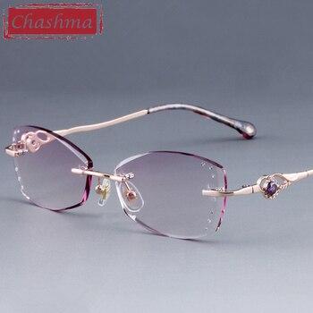 097e64d638 Gafas con montura de titanio púrpura para mujer de moda con cristales de  diamantes de imitación de marca Chashma