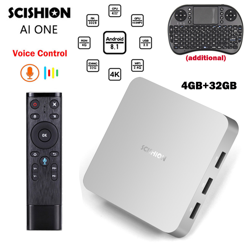 SCISHION AI ONE Android 8.1 TV Box Voice Control 4G RAM 32G ROM SetTop Box RK3328 2.4G Wifi Bluetooth 4K USB 3.0 Poland Smart TV цена 2017