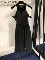 FOMOLAYIME высокое качество летние длинные платья Vestidos 2018 Европейский модельер с открытыми плечами платье на бретелях