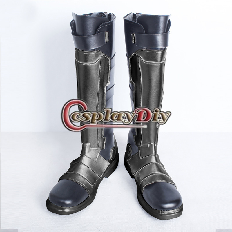 Soldier 76 Silver Shoes Boots Adult Men's Knee High Flats Zip Motorcycle Long Personalized Boots Custom Made the flash supergirl boots shoes adult women girls cosplay boots custom made