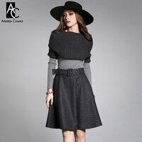 2015 Winter Spring Designer Women S Clothing Set Skirt Suit Dark Grey Knitted Cape Skirt Light