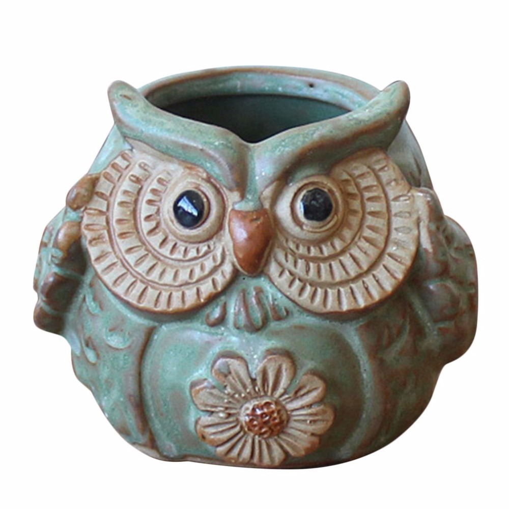 Cartoon Owl-shaped Flower Pot For Succulents Plants Ceramic Small Mini Home Office Garden Fleshy Plants Terrarium Decorations