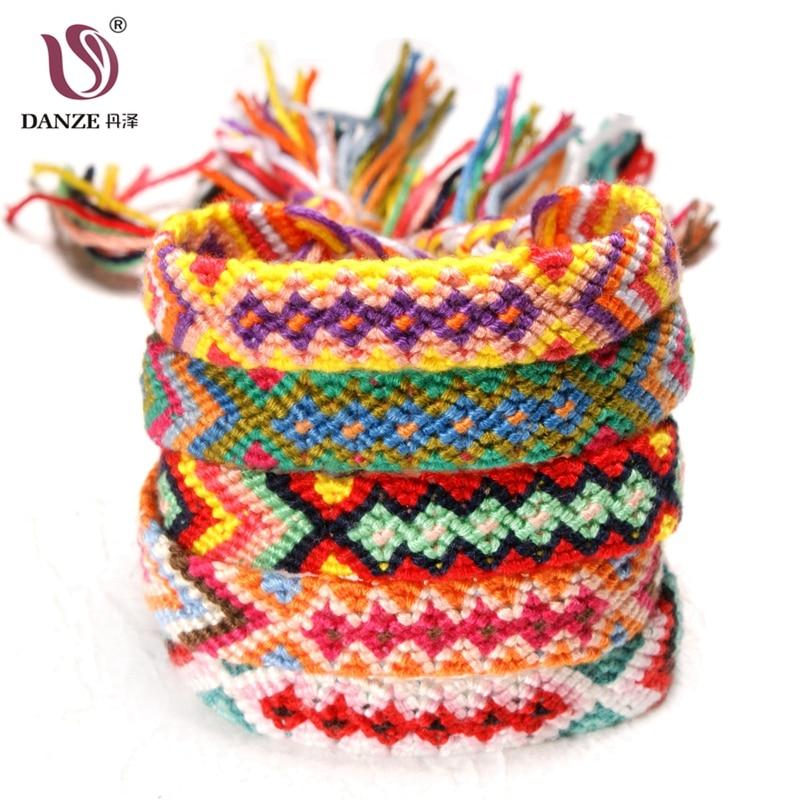 DANZE Bohemian Thread Cuff Bracelet Handmade Geometric Multicolor String Cord Braided Hippie Friendship Bracelets Women Men Gift