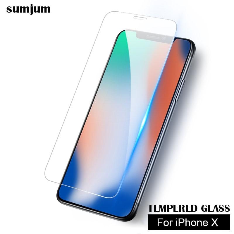 sumjum For iPhone X Glass Tempered screen Protectors 10 iPhoneX 0.26mm 9H film
