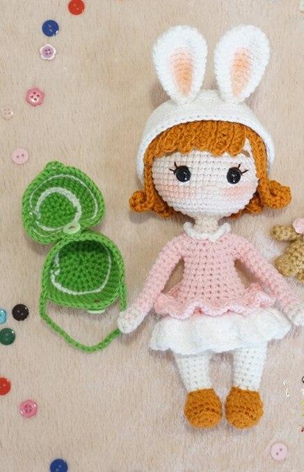 Crochet Toys  Amigurumi  The Bunny Girl Amigurumi  Doll Rattles  Number  WS0041