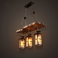New Original Design Retro Industrial Pendant Lamp 3 Head Old Boat Wood American Country style Nostalgia Light Free Shipping