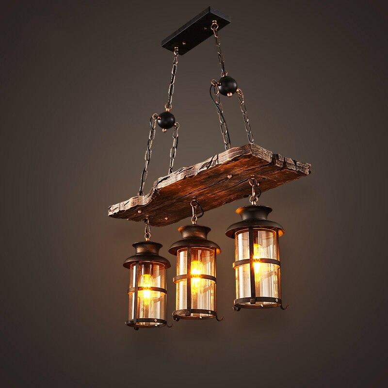 Novo Projeto Original Retro Industrial Luminária 3 Cabeça Velho Barco De Madeira em estilo Country Americano Saudade Luz Frete Grátis