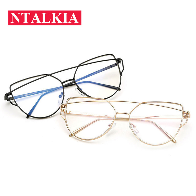190e390ebd Retro Women s Optics Glasses Fashion Brand Designer Double Beam Cat Eye  Eyeglasses Transparent Lens Metal Frame Eyewear