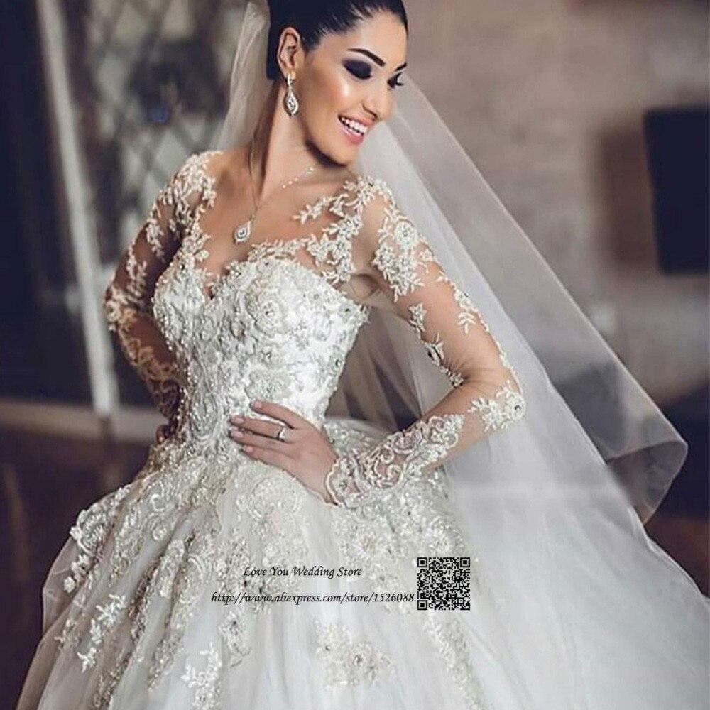 5b4524979 Vestido de Noiva Com Manga Princesa Puffy Gothic Luxury Wedding Dress Long  Sleeve Lace Wedding Gowns Beaded 2019 Bride Dresses