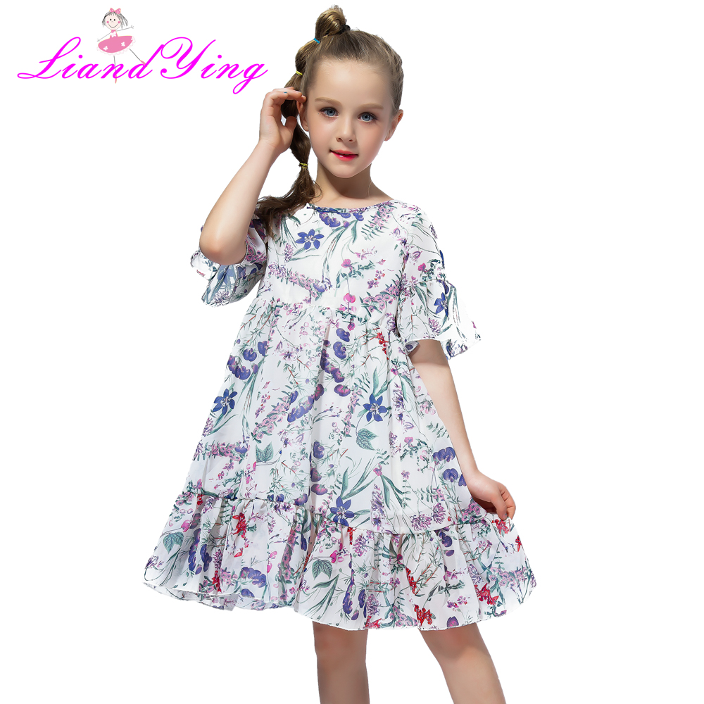 Hot Sale Kids Summer Bohemia Casual Pleated Dress for Girl 2018 Children Chiffon Floral Dress For 3 4 6 7 8 9 10 11 12 Years 2018 summer new arrival girls pleated chiffon one piece dress with paillette collar children colthes for kids baby pink green