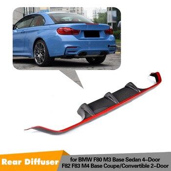 Pour diffuseur de lèvre de pare-chocs arrière en fibre de carbone série 4 pour BMW F80 M3 F82 F83 M4 14-17 Standard et cabriolet avec rouge