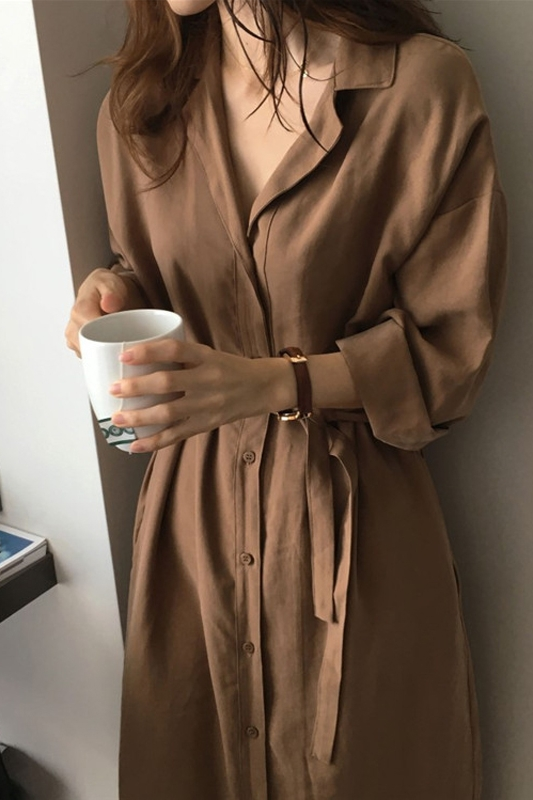 NEW Cardigan Chic Long Sleeve Shirt Dress New Casual Patchwork Dresses OL Turn Down Collar Buttons Loose Blue Brown Dresses Robe