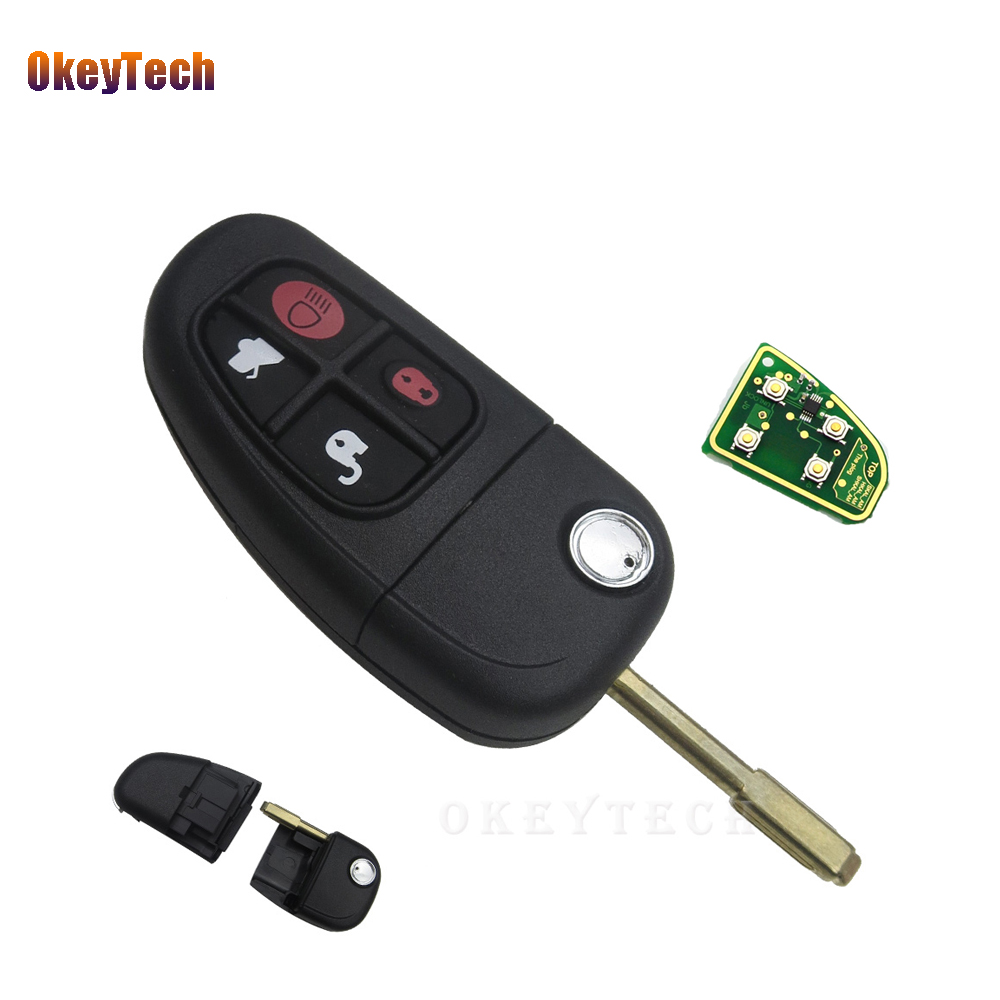 OkeyTech 4 Buttons Flip Folding 315/433mhz 4D60 Chip Remote Control Car Key Fob Replacement  For Jaguar X-Type S-Type XJ XK TypeOkeyTech 4 Buttons Flip Folding 315/433mhz 4D60 Chip Remote Control Car Key Fob Replacement  For Jaguar X-Type S-Type XJ XK Type