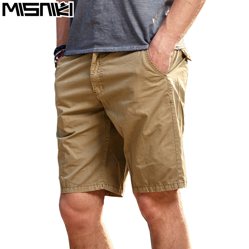 MISNIKI summer men cargo shorts loose board shorts mulit-pockects cotton solid short trousers 28-38 JPDK09