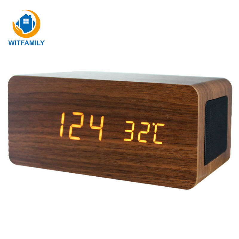 Sans fil Bluetooth Alarme Horloges suport aux Grand Écran Électronique en bois Horloge Multifonction LED soonze montre usb charge