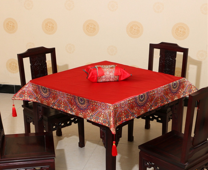 Luxury Plain Patchwork Table Cloth Tassel High End Chinese style Natural GENUINE Silk Brocade Dining Decorative Table Covers