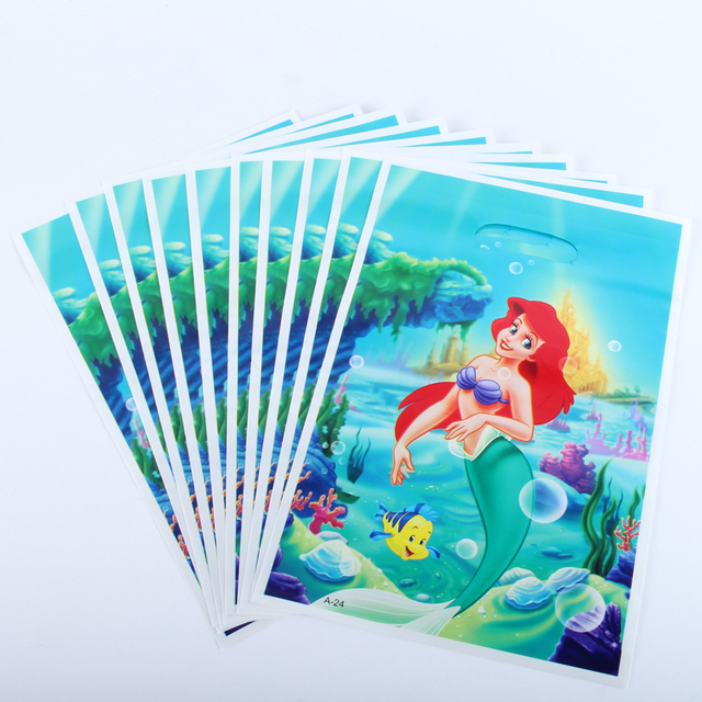 20pcs/lot Mermaid Gift Bag Party Decoration Plastic Candy Bag Loot Bag For Kids Birthday/Festival Party Supplies