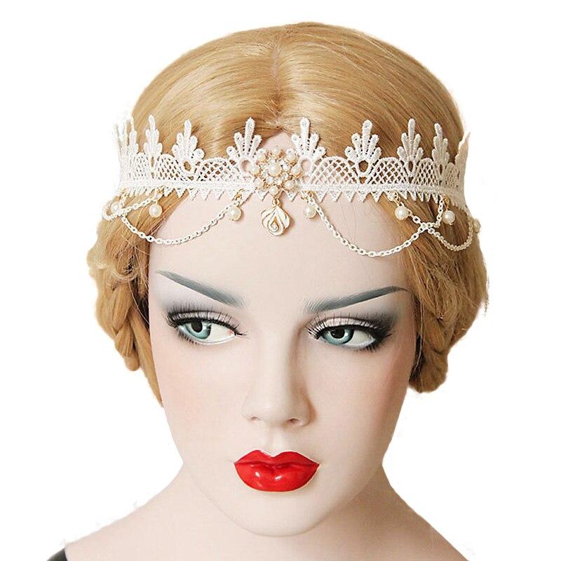 Chic Mulheres Crown Headband Tiaras de Casamento Nupcial Branco do Laço Da Flor Amor Pérola Gota de Cristal Headpiece Cadeia Hairband Elástico